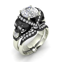 Skull Engagement Ring in Solid Silver