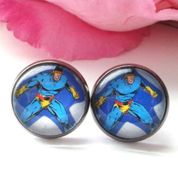 Superhero Stud Earrings - X-Men - Cyclops - Silver Studs - Gunmetal Black Studs - Stud Earrings - Comic Book Earrings