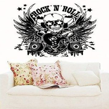 Scull R'n'R Rock Band Wall art Decal Sticker 5116