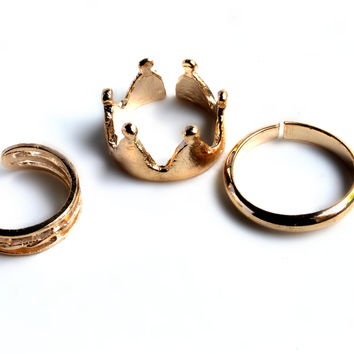 """Queen Of Kings"" Gold Ring Set"