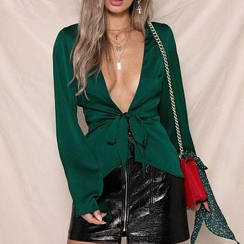 Satin Club Party Sexy Crop Tops Blouses Women Blouse Shirt Feminino Blusa Mujer