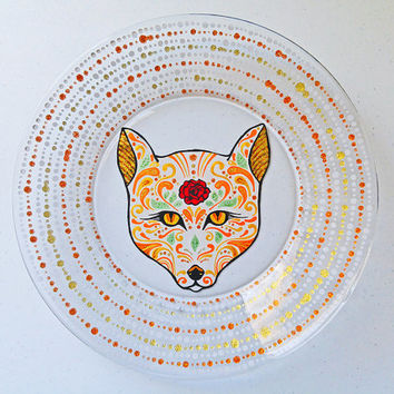 Sugar Skull Animals, Fox, Dinnerware, Dining Set, Day of the Dead, Dia De Los Muertos, Hand Painted Glass Plates, Glassware, Kitchen Decor