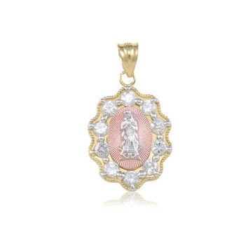 10K Solid Yellow White Rose Gold Cubic Zirconia Virgin Mary Pendant - Tricolor Lady of Guadalupe Necklace Charm
