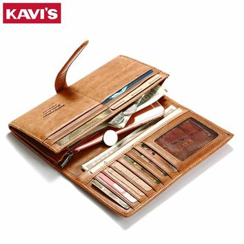 KAVIS Lady Genuine Leather Female Wallet Men Long Design Male Coin Purse with Pocket Walet Portomonee Rfid Clutch Women Handy