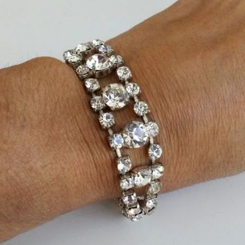 Vtg Clear Rhinestone Silver Tone Articulated Bracelet Tongue and Groove Clasp