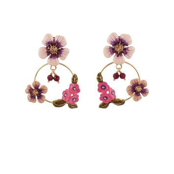 Les Néréides QUEEN OF MEADOW PINK AND WINE FLOWER HOOPS