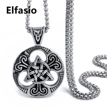 Mens Boys Silver Gold Celtic knot Magic Pendant with 18-30inch Stainless Steel Necklace Chain Jewelry