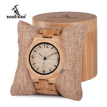 BOBO BIRD Wooden Bamboo Watch with Luminous Hands