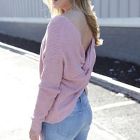 Twisted Knot Sweater, Mauve