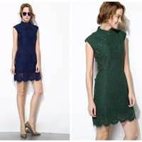 cheongsam dress in navy,dark green,apricot,short length,made from lace,zip at back,sleeveless,elegant,fashion,mod,for summer.--E0198