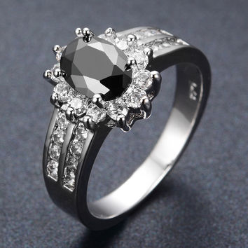 Jewelry Engagement Ring Size 5-10Womens Black Sapphire zircon 925 Silver Filled