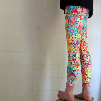 Neo Hippy Tights - Multicolored Flower Power Leggings