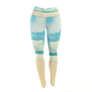 "Sylvia Cook ""Beach Time"" Brown Blue Yoga Leggings"