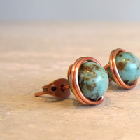 Turquoise Copper Stud Earrings  Southwestern by contempojewels