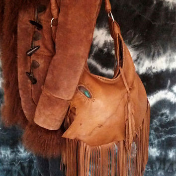 Milky brown tan fringe distressed slouchy hobo bag  fringes agate stone  festival gypsy bag ethnic free people hobo