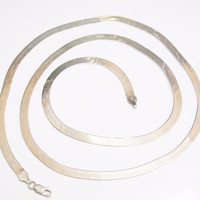 Italian Sterling Herringbone Chain Necklace 30.5 Inches