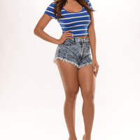 Stripe Crew Neck Crop Top - Royal/White