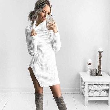 Candy Color High Neck Split Long Sweater