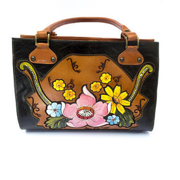 Beautiful hand-painted engraved leather bag