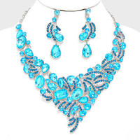 Aqua blue rhinestone silver Necklace set