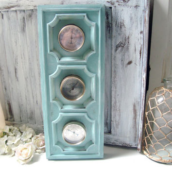 Blue Vintage Weather Barometer, Shabby Chic Weather Station, Humidity Meter, Beach Chic Aqua Mint Wall Decor, Coastal Blue Wall Decor
