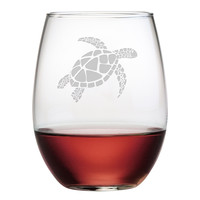 Sea Turtle Stemless Wine Glasses ~ Set of 4
