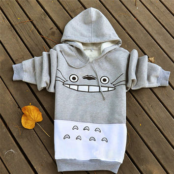 2016 Hot Spring and Autumn Totoro Sweatshirts Women Hoodies Suit Cartoon Print Patchwork Pullover  with Pockets Gray