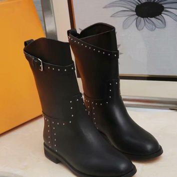Hermes Trending Women Leather Side Zip Lace-up Ankle Boots Shoes Best Quality