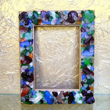 Wood 5 x 7 Picture Frame Handpainted Cream and Titanium Gold, Slightly Distressed, Embellished with Sea Glass,  Table or Wall Decor