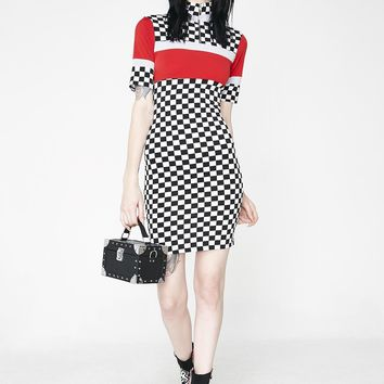 Speed Demon Checkered Dress
