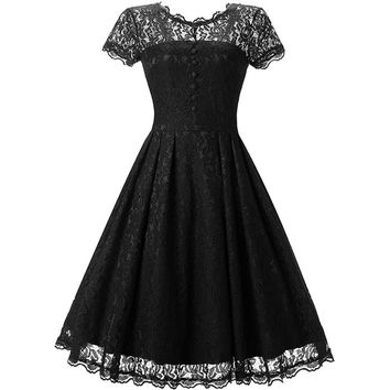 Ladies Dress elegant black/white Lace Dress Graduated from the University Short sleeve High-grade dress Vintage party dress