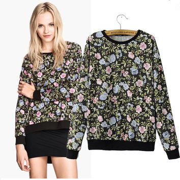 Black Floral Long Sleeve Sweater
