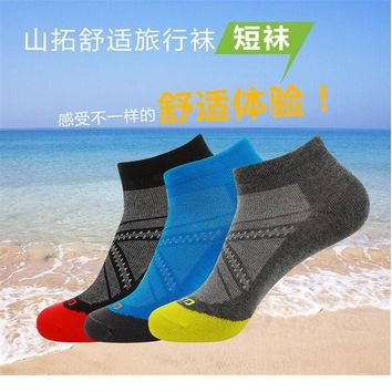 3 Pairs/lot SANTO S043 50% Coolmax 30% Cotton Outdoor Sock Slippers Men Sports Socks Quick Dry Spring Summer Fit to Size 39-43