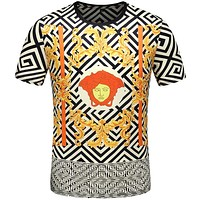 Versace Casual Simple Women Men Short Sleeve Shirt Top Tee