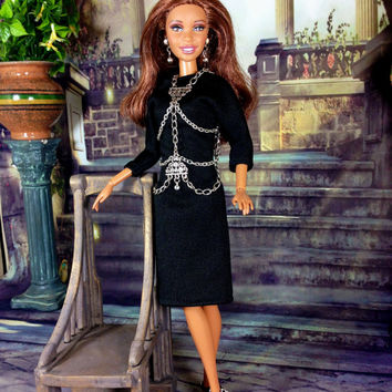 Barbie Doll Dress and Body Jewelry - Black Dress with Silver Cascading Body Jewelry Overlay