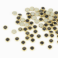 Blueness 100pcs Black Clear Charms 3D Nail Art Adhesive Accessories Gold Alloy Slice for Nails Design Manicure PJ335
