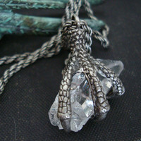 Dragon, Bird Claw Crystal Slayer Necklace, Rainbow Crystal with Inclusions, Original Claw, Crystal and Chain, Hand Made