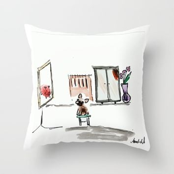 Mirror, mirror on the wall, french bulldog art print Throw Pillow by BoubouleArt