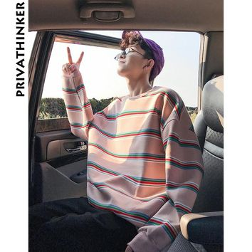 Privathinker Men Striped Sweatshirt Hoodies 2018 Mens Hiphop O-Neck Hoodies Male Harajuku Korean Style Autumn Winter Pullover