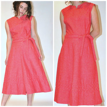 1960s pink dress / vintage 60s CORAL sleeveless new look seersucker day dress
