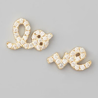 Sydney Evan Yellow Gold Diamond Love Stud Earrings