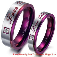 "(Male + Female)Purple ""Love Token"" With CZ Stone 316 l Stainless Steel Titanium Wedding Band Anniversary/Engagement/Promise/Couple Ring Best Gift! = 1929598084"