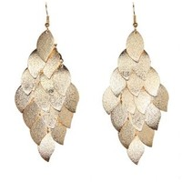 Gold Brushed Leaf Chandelier Earrings by Charlotte Russe