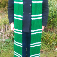 Harry Potter Slytherin knitted scarf - 8 ft long