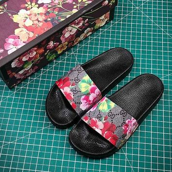 Gucci GG Supreme Tiger Flower Slide Sandals #5  - Best Online Sale