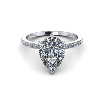 14K White Gold Solitaire Pear Moissanite Diamond Engagement Ring 5e8b01b26