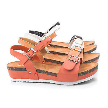Paul19 Coral Pu By Top Moda, Double Buckle Open Toe Sling back Footbed Flatform Sandals