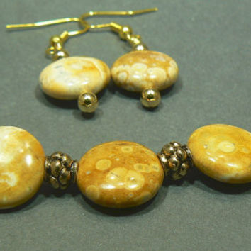 Mexican Sky Eye Jasper Bracelet and Earring set