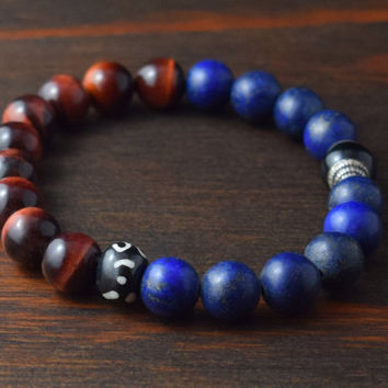 Men's Beaded Bracelets. Bracelet Set with African Turquoise, Onyx, Tiger Eye, Lapis Lazuli, Jasper, & Lava Stone. Lotus and Lava Bracelets.