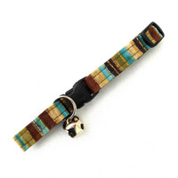 Earth Tone and Gold Stripes Cat Breakaway Collar -Brown Earth Turquoise Teal Moss Green Gold Sparkle Stripes Cat Collar Feline Kitty